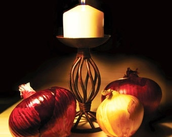 """THREE """"O""""MIGOS, Kitchen Art Print, Photography, Décor, Yellow, Red, Candle, Onions, Flame, Archival Paper, 8 x 10, ArtBJC"""