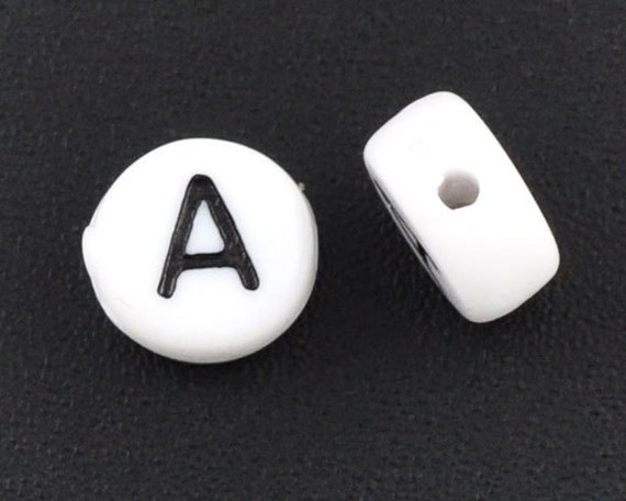 25 Alphabet Beads Letter A, Black and White 7mm flat