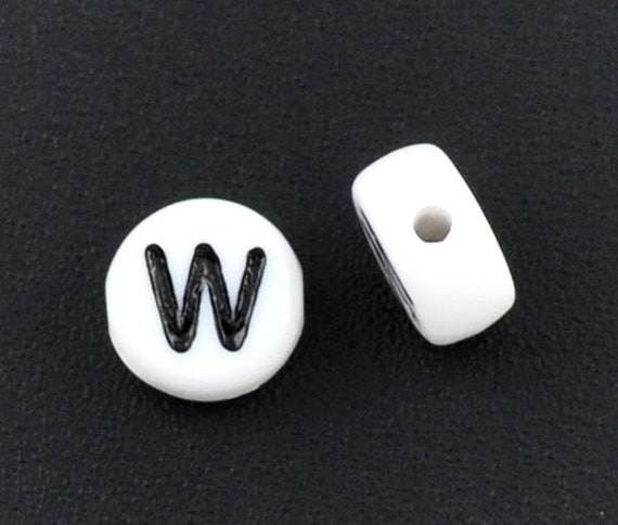 25 Alphabet Beads Letter W, Black and White 7mm flat