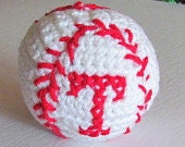 "baseball Pattern in single crochet with ""Texas"" T embroidered on it"