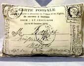 French Postcard  Vintage Style Cushion Pillow