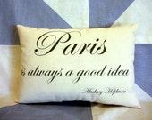 Paris Audrey Hepburn Quote Vintage Retro Style Cushion Pillow