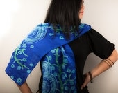Hand painted silk scarf in blue and green, long silk scarf, painted silk scarf, handmade scarf, muffler, Japanese inspired underwater art