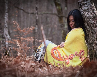 Yellow silk scarf hand painted with orange gold paisley design. Long silk shawl summer and spring batik wrap. Silk anniversary stole gift
