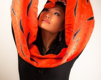 Hand Painted Silk Scarf in Orange and Black, Long Silk Scarf, Orange Silk Scarf, silk muffler, Scarfs, hand dyed silk, gifts for her or him