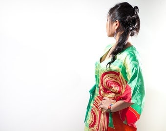 Plus Size Silk Long Dress - Kaftan - Caftan - Red Green - Plus Size Dress - Free Size - Hand Painted Dress - Hand Dyed Silk - Large Dresses
