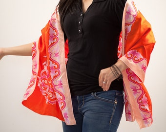 Silk scarf, bright shawl hand painted batik in orange, peach, pink, silk wrap, headscarf, head scarves, gift for mom, gifts for bridesmaids