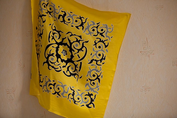 Hand painted silk scarf in yellow and black. Neckerchief, small silk scarf, hair kerchief, headwrap, headscarf, head scarf, wedding favors