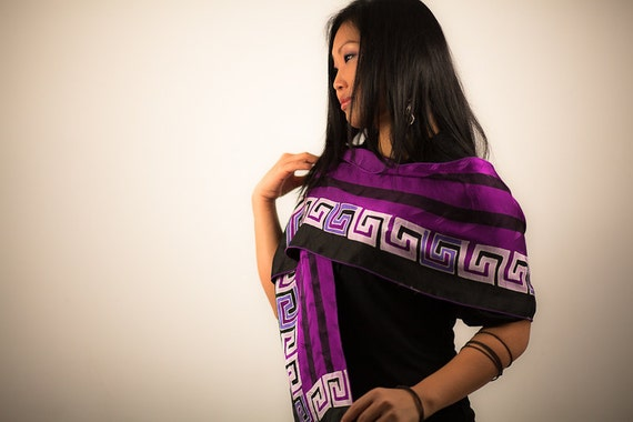 Hand Painted silk scarf in purple black, Long silk scarf muffler, Bridesmaid favors, batik headwrap, head wrap, sash, small gift for women
