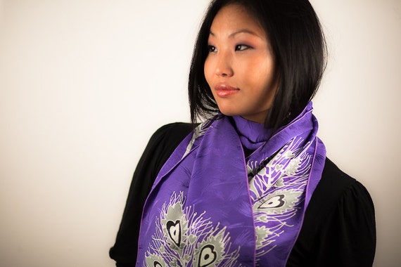 Hand painted silk scarf peacock feather. Purple thin long muffler. Bridesmaid favor gift. Indian inspired art. Peace silk, chiffon, satin
