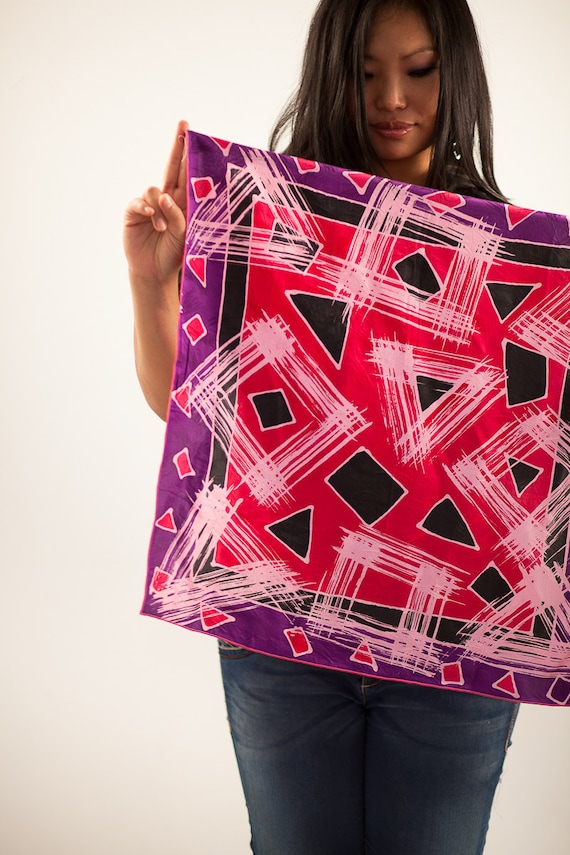 Hand painted silk scarf. Small square neckerchief. Abstract geometric red and purple scarflette. Head scarf, headscarf, hair kerchief wrap