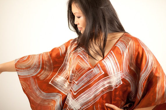Brown Tunic Silk Dress, hand painted and hand dyed - free size - one size fits most - earth tone colors - silk tunic - rust - Batik