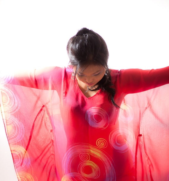 Kaftan caftan, oversized red chiffon dress hand painted, womens plus size tops, flowing, short chiffon dress, custom made dress plus size