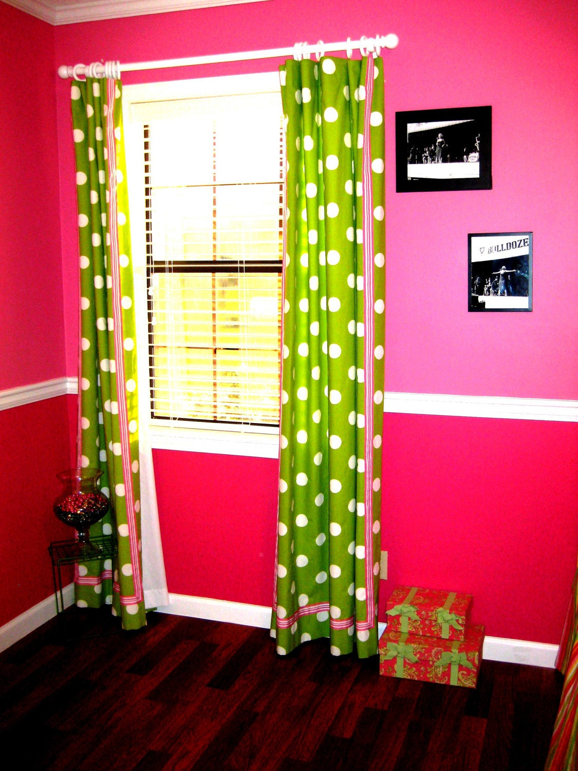 lime green white and pink polka dot curtains for two