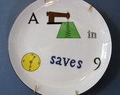 Word Game Plate/Taste Setter  A Stitch In Time Saves Nine