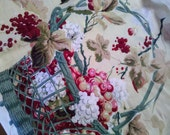 Vintage cotton fabric cherries in a basket pattern