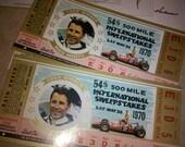 Astronauts Buss Aldren John Glenn signed 1970 INDY Motor Speedway Tickets