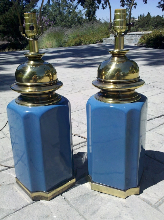 Vintage Ginger Jar style table lamps with brass mid century modern