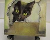 "original black cat oil painting miniature lacquered oil painting 5""x 5"""