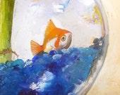 """Oscartitafish Original fish painting on canvas Oscarita  the Beautiful 12""""x 12"""""""