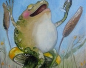 """Frog art print- 6""""x8"""" The Good Life- Giclee print on watercolor paper."""