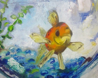 "Original bathroom Goldfish painting on canvas fish painting 12""x12""Mr Handsome"