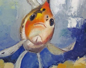 "Goldfish Art Original oil painting on canvas WinstonFish 12""x12"""