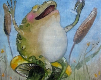 "Frog art print- 6""x8"" The Good Life- Giclee print on watercolor paper."