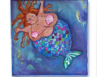 "bbw Mermaid fine art print on watercolor paper  8""x8"" Glenda Mermaid"