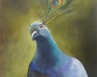 "Pigeon art Fine art giclee print on watercolor paper  Pretty Pigeon 8""x8"""
