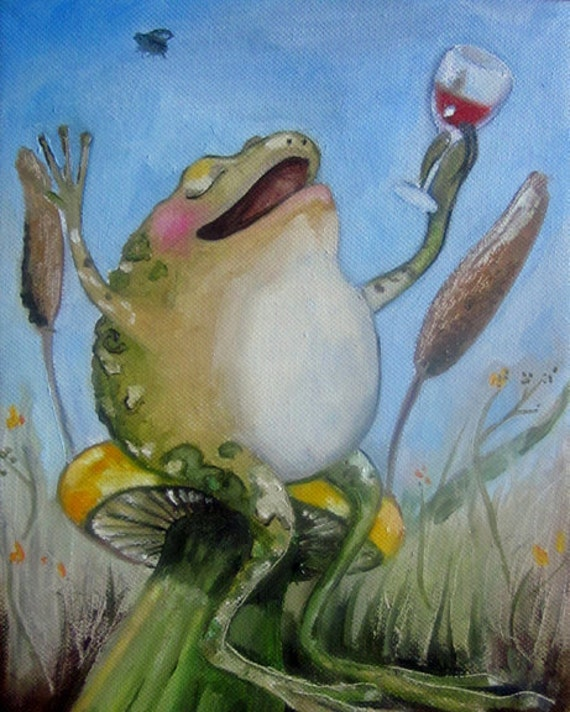 Frog art print-  The Good Life- Giclee print on watercolor paper.