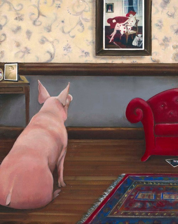 "Pig art Fine art giclee print on watercolor paper 6""x8"" Nostalgia Pig"