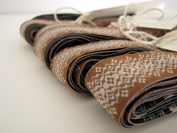 Vintage Brown French Ribbon 3 Yards with mini flash card