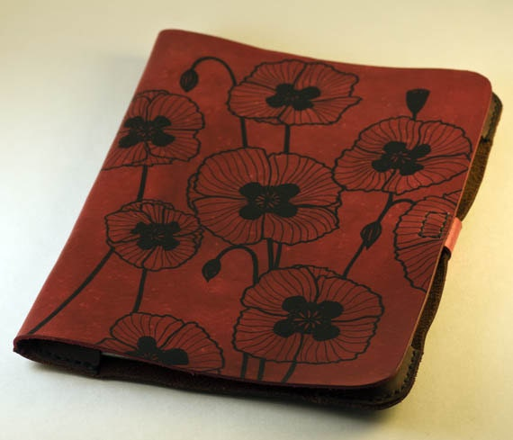 Leather iPad 2 or iPad 3 or iPad 4 Book-Style Cover Red Poppy Flower Design