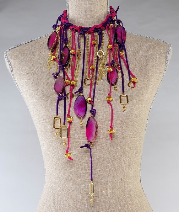 Long Suede Pink and Purple  Statement Necklace