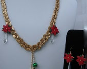 reserved for Laura H Sparkly gold braid necklace with pointsettia crystal charms and colored bells
