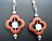 Dangle Earrings with a Brown Carved Bone Flower and a White Center