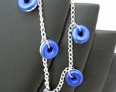 Bright Blue Donuts and Silver Chain Bracelet