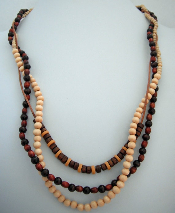 Three strand wood bead and leather adjustable necklace
