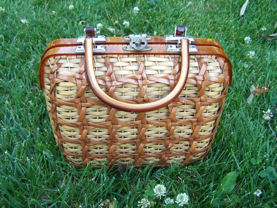 Brown wicker mad men style handbag