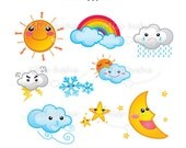 Cute Weather Icons - Digital Clip Art - PNG File - 300 dpi - CA01 - Buy 2 Get 1 Free