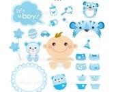 Baby boy graphic set - Digital Clip Art & Digital Paper - 300 dpi - CA14 - Buy 2 Get 1 Free