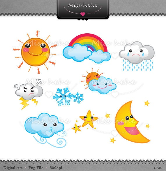 Cute Weather Icons Digital Clip Art PNG File 300 dpi