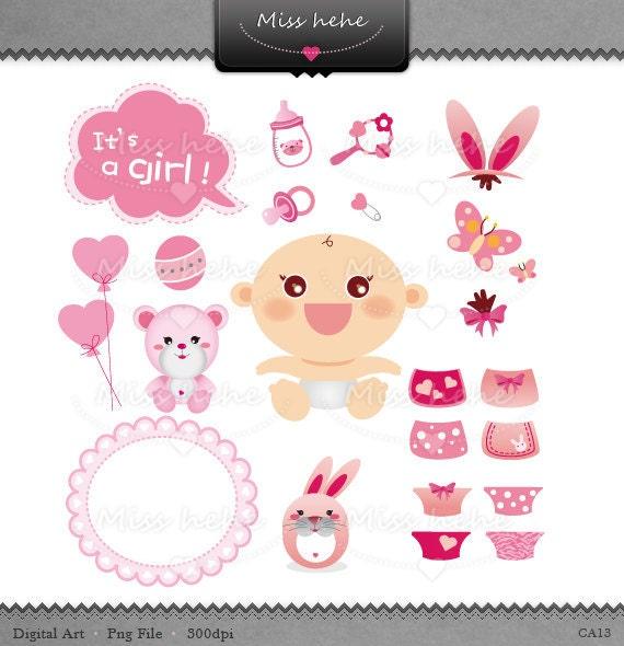 Baby girl graphic set - Digital Clip Art & Digital Paper - 300 dpi - CA13 - Buy 2 Get 1 Free
