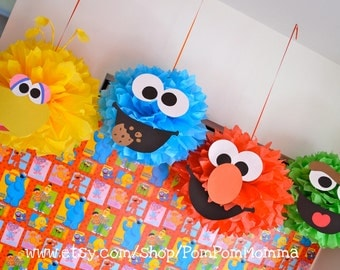 Sesame Street Inspired Party Poms
