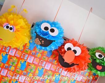 Sesame Street Inspired Party Poms