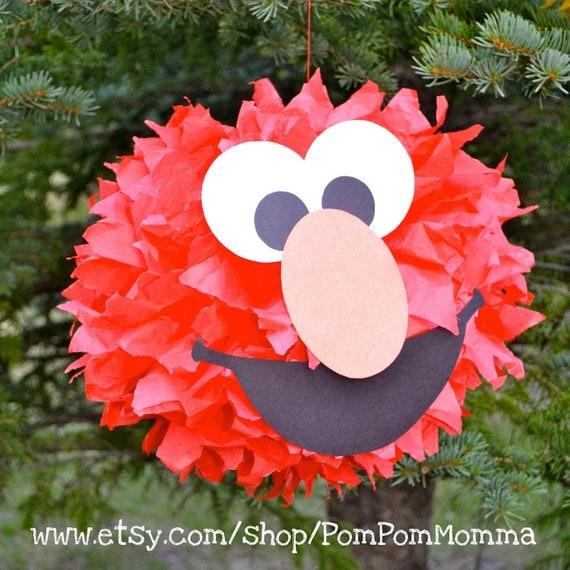 Elmo inspired party pom by pompommomma on etsy
