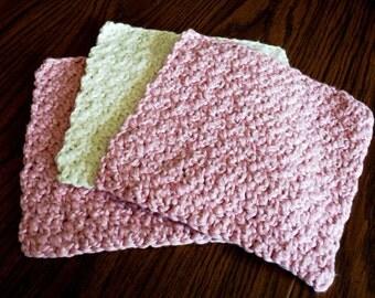 Organic Cotton Crochet Washcloths-Pink/Almond-Set of 3 Handmade-Eco Friendly
