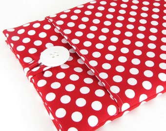 MacBook Air Case, MacBook Air Sleeve, MacBook Air 13 Case, MacBook Air 13 Sleeve, 13 Inch MacBook Air Sleeve - White Red Polka Dots
