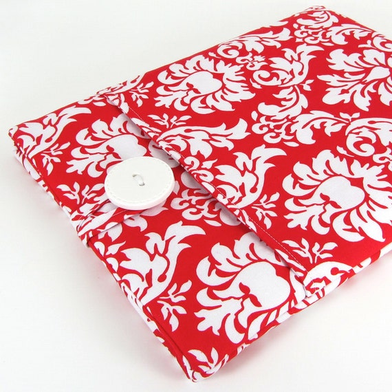 Damask New iPad Case Sleeve, iPad 2 Case, Padded, Pocket - Red And White Damask.